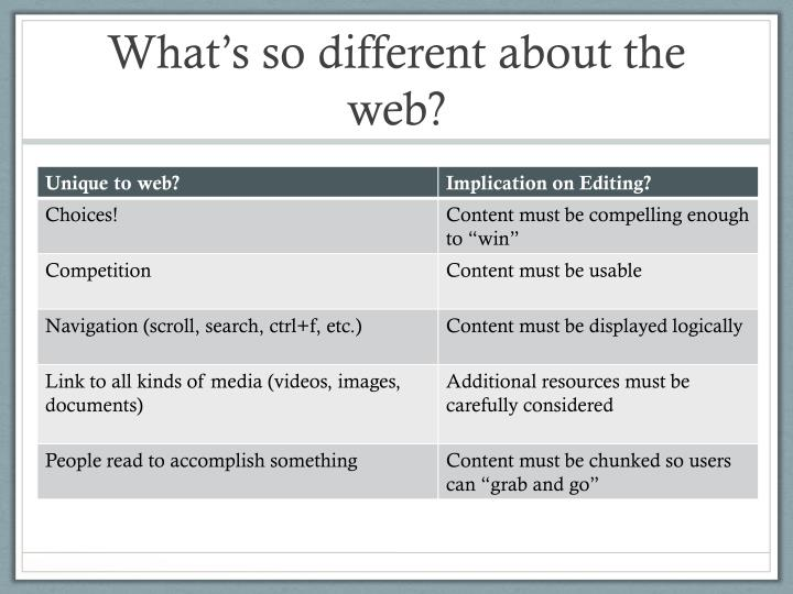 What's so different about the web?