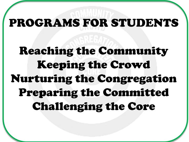 PROGRAMS FOR STUDENTS