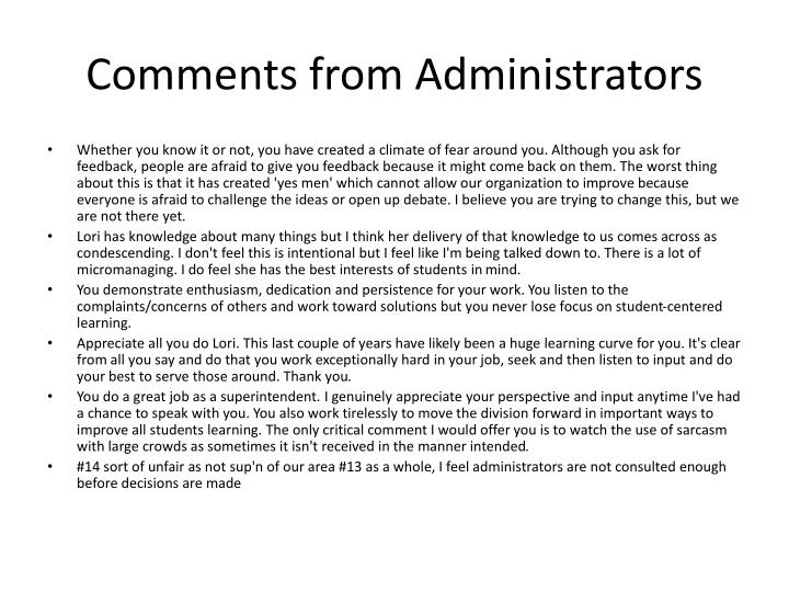 Comments from Administrators
