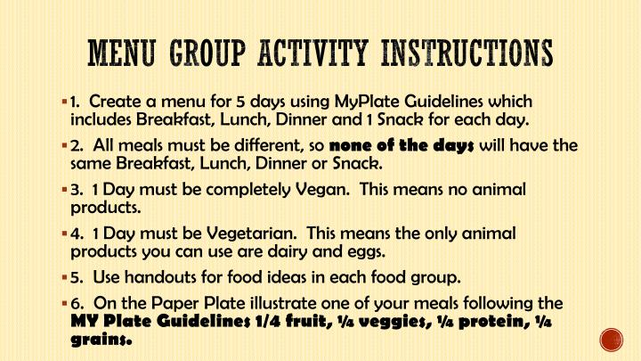 Menu group activity instructions