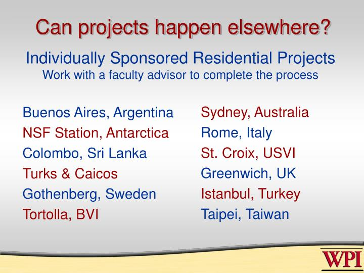 Can projects happen elsewhere?