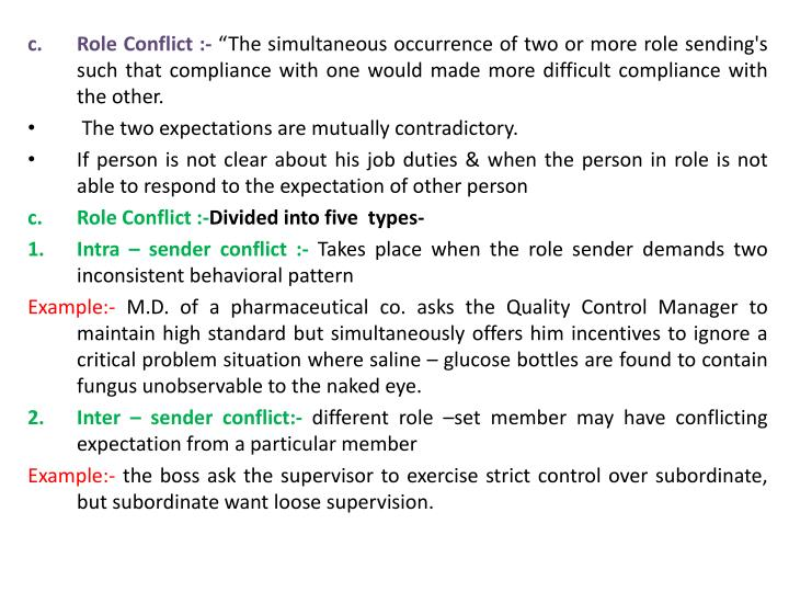Role Conflict :-
