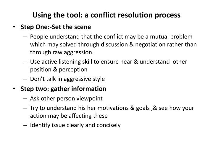 Using the tool: a conflict resolution process