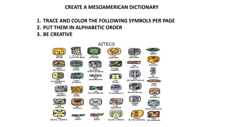 CREATE A MESOAMERICAN DICTIONARY