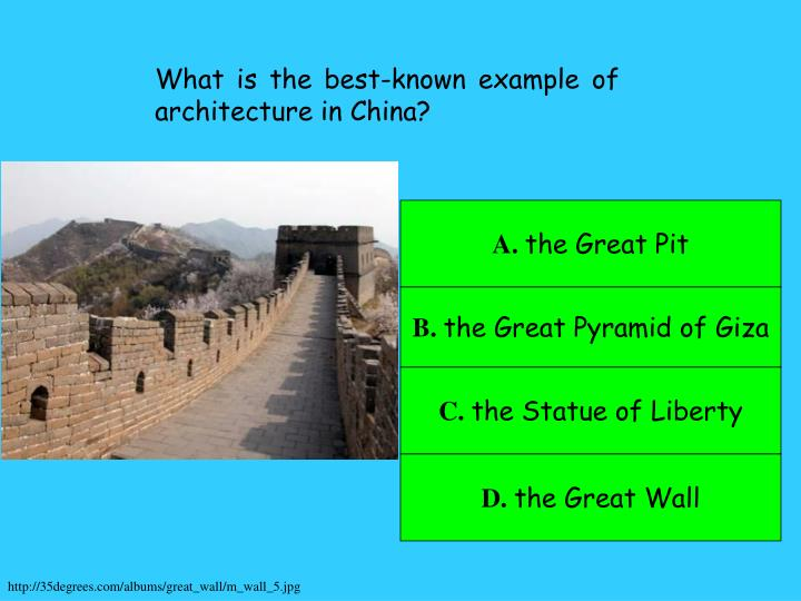 What is the best-known example of architecture in China?