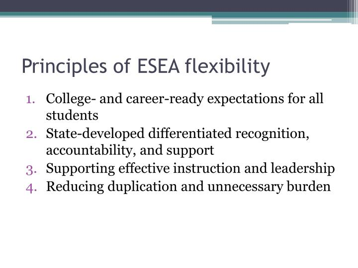Principles of ESEA flexibility