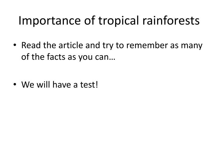 Importance of tropical rainforests