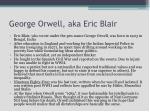 george orwell aka eric blair