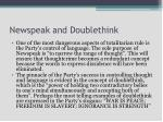 newspeak and doublethink