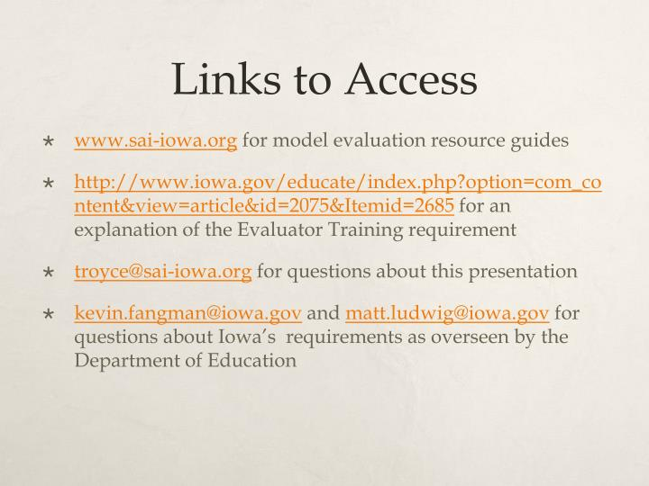 Links to Access