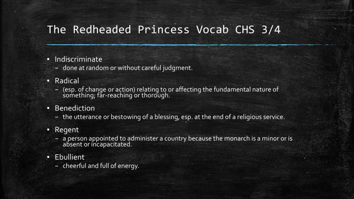 The redheaded princess vocab chs 3 4