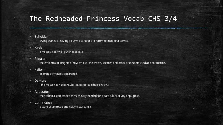 The redheaded princess vocab chs 3 41