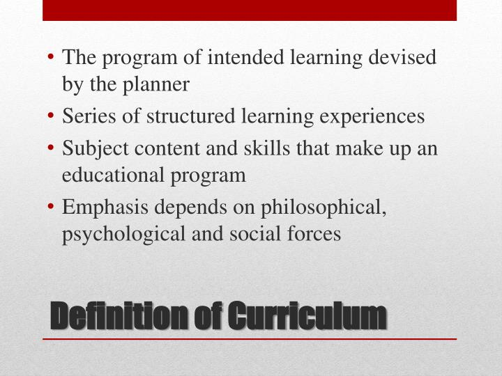 The program of intended learning devised by the planner