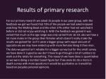 results of primary research