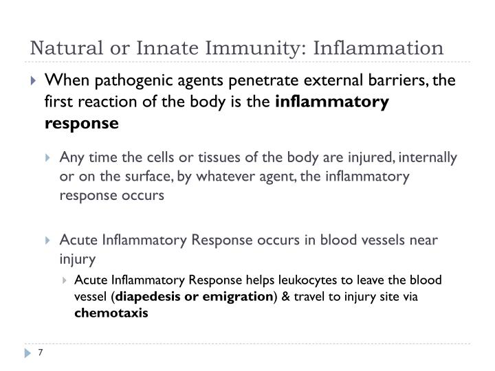 Natural or Innate Immunity: Inflammation