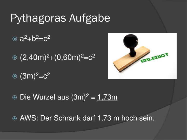 Pythagoras Aufgabe