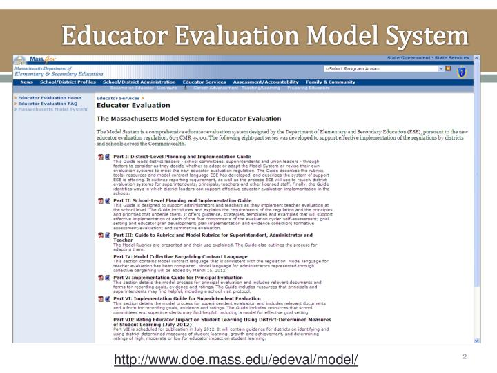 Educator evaluation model system