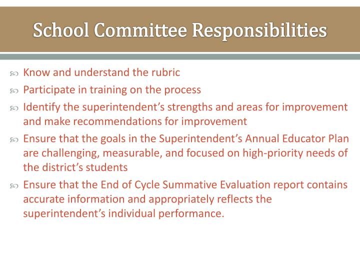 School Committee Responsibilities