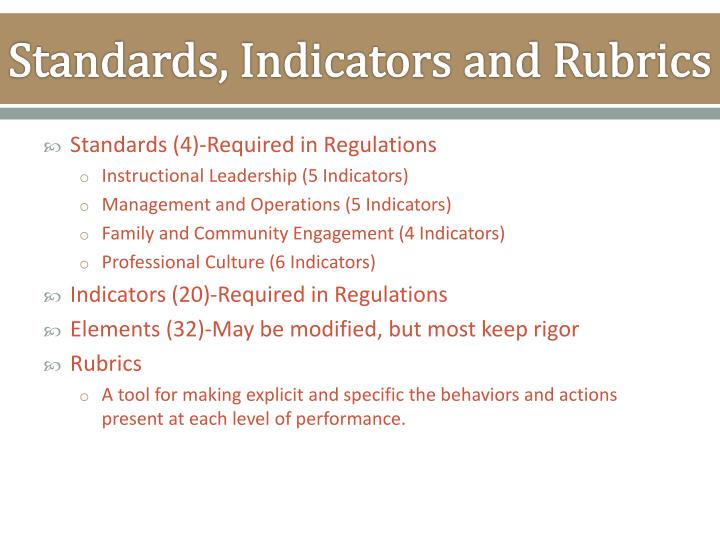 Standards, Indicators and Rubrics