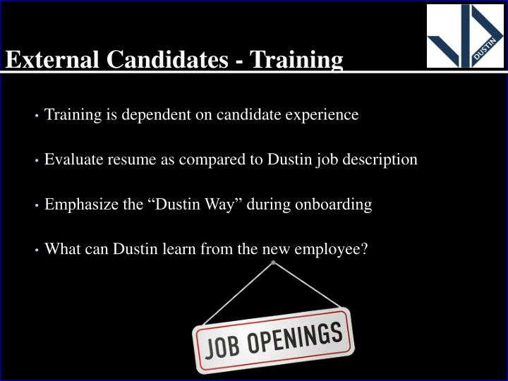External Candidates - Training