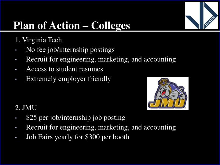 Plan of Action – Colleges