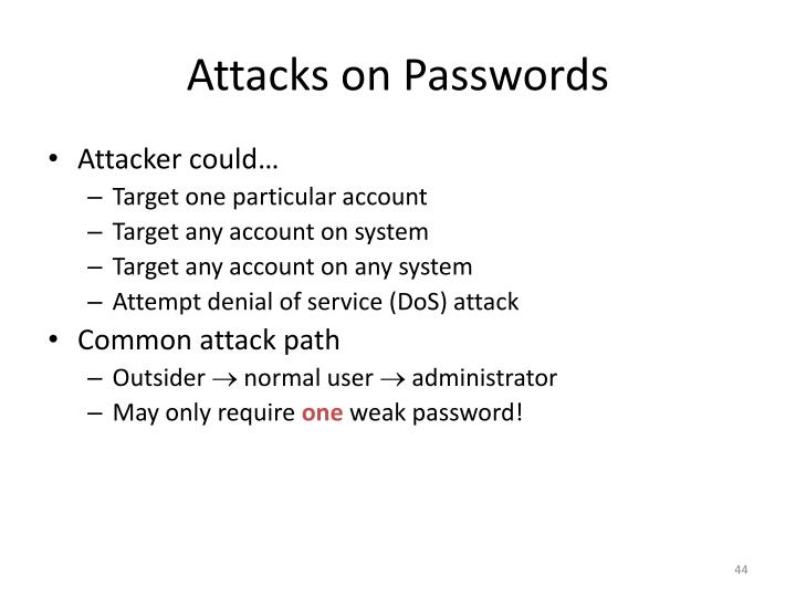Attacks on Passwords