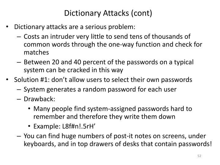 Dictionary Attacks (cont)