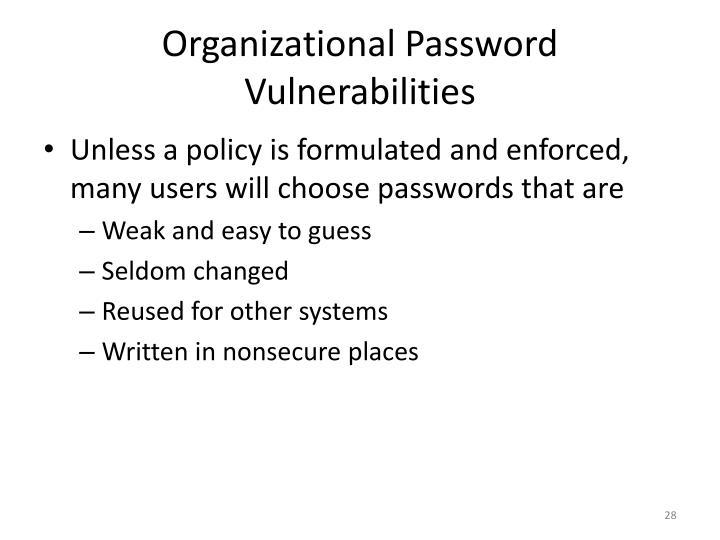 Organizational Password Vulnerabilities