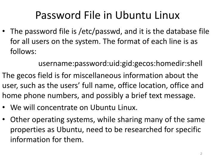 Password File in Ubuntu Linux