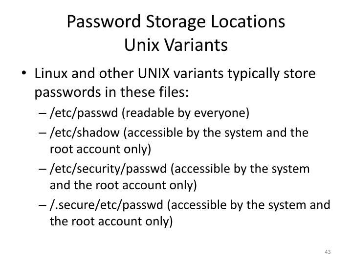 Password Storage Locations
