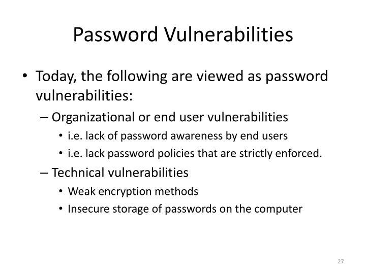 Password Vulnerabilities