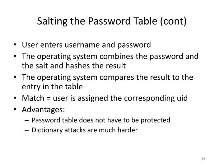 Salting the Password Table (cont)