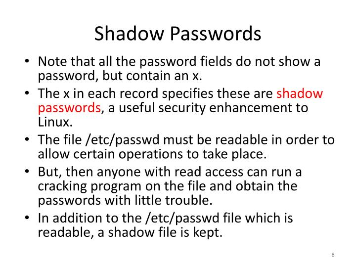 Shadow Passwords