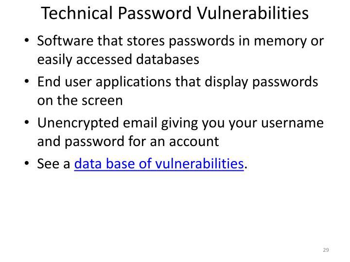 Technical Password Vulnerabilities