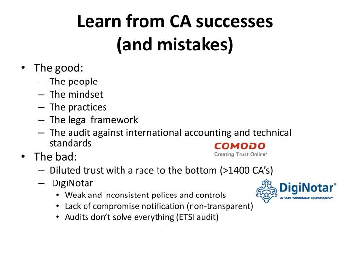 Learn from CA successes