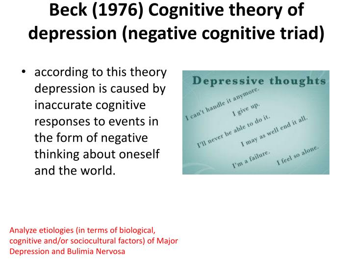 Beck (1976) Cognitive theory of depression (negative cognitive triad)