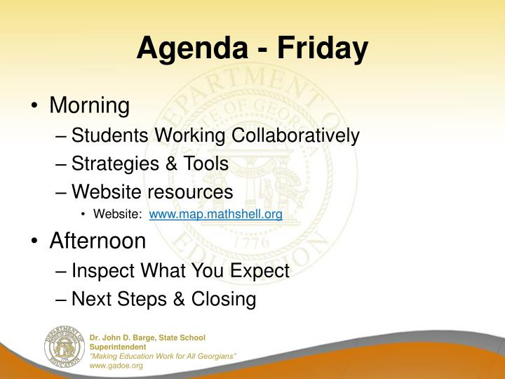 Agenda - Friday