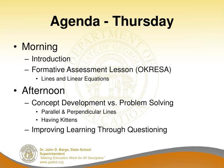 Agenda - Thursday