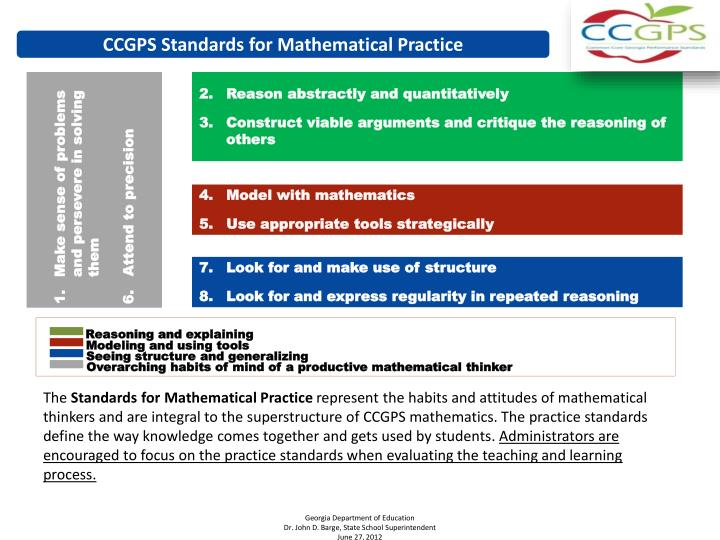 CCGPS Standards for Mathematical Practice