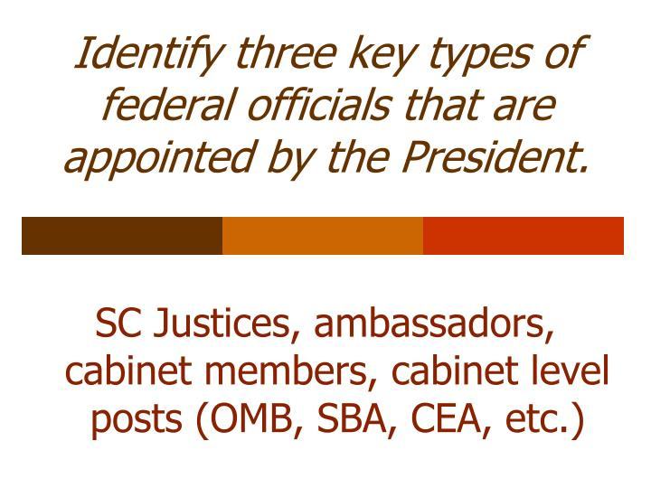 Identify three key types of federal officials that are appointed by the President.