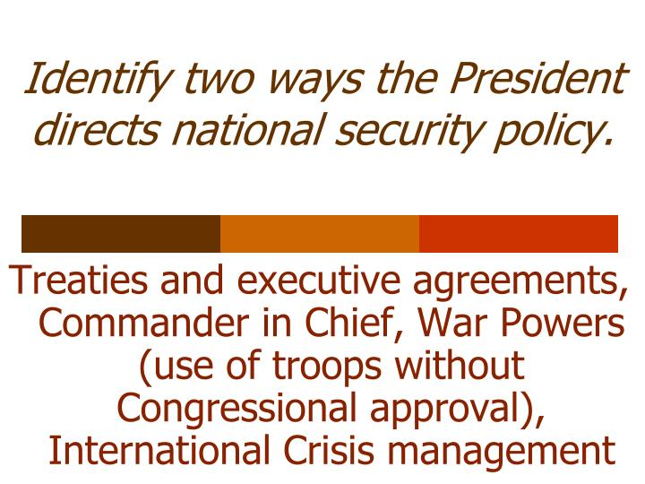 Identify two ways the President directs national security policy.