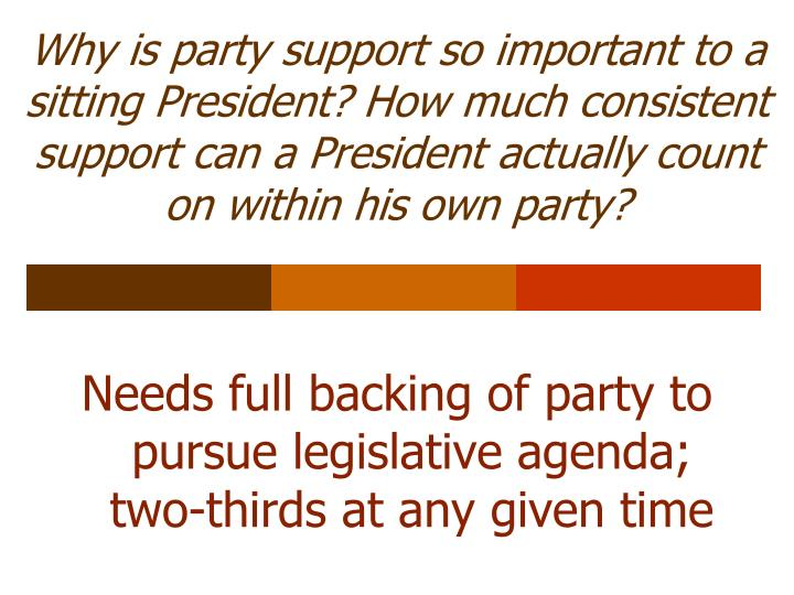 Why is party support so important to a sitting President? How much consistent support can a President actually count on within his own party?