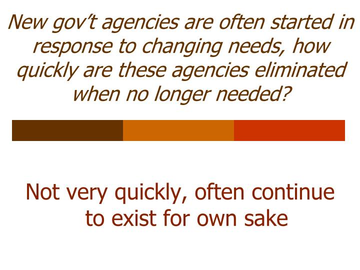 New gov't agencies are often started in response to changing needs, how quickly are these agencies eliminated when no longer needed?