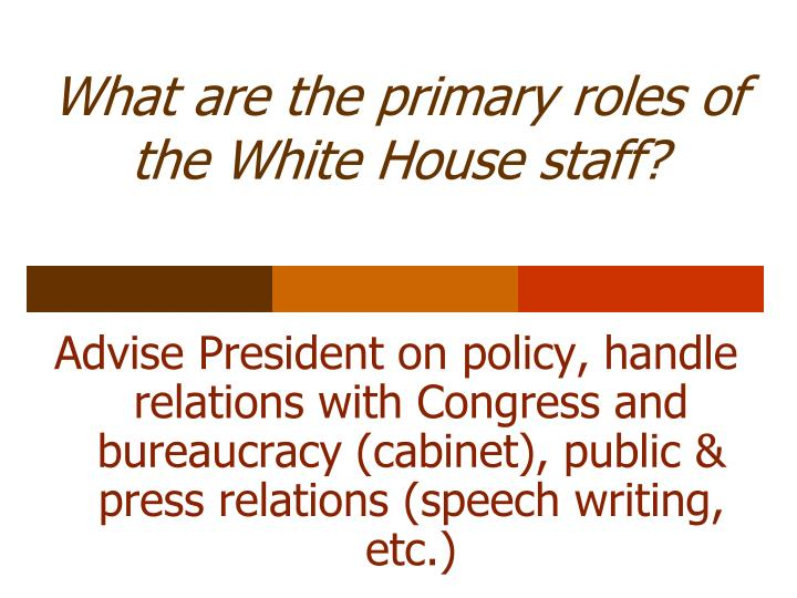 What are the primary roles of the White House staff?