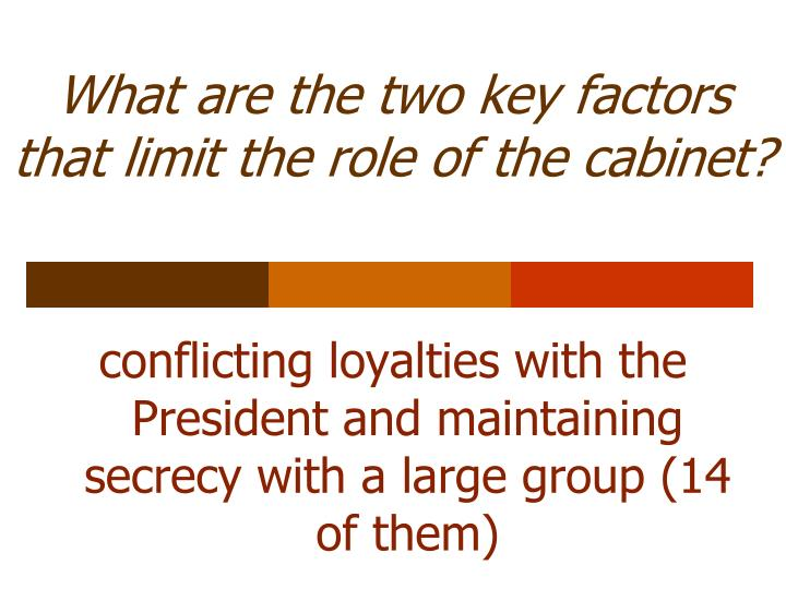 What are the two key factors that limit the role of the cabinet?