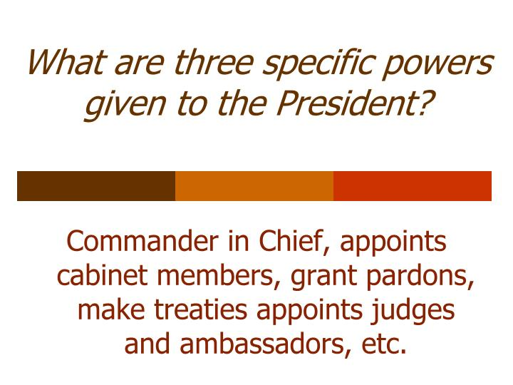 What are three specific powers given to the President?