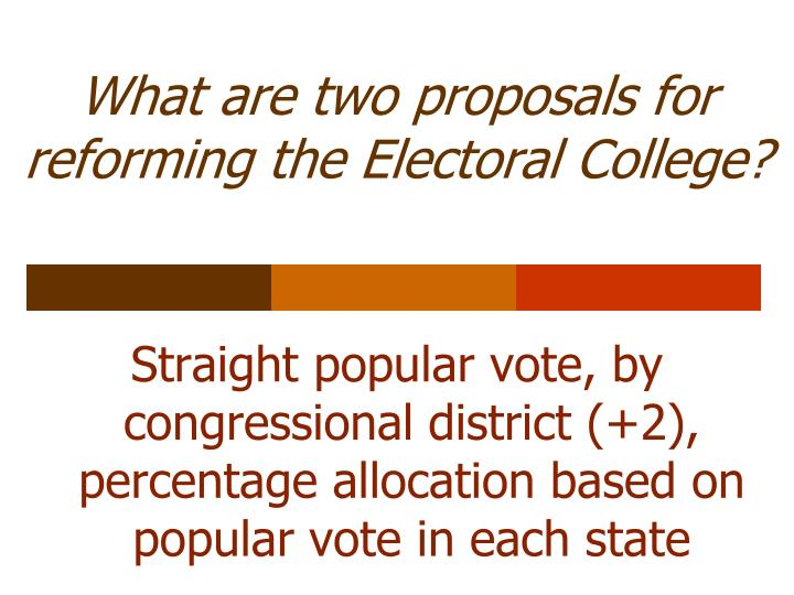 What are two proposals for reforming the Electoral College?