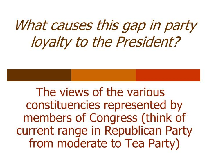 What causes this gap in party loyalty to the President?