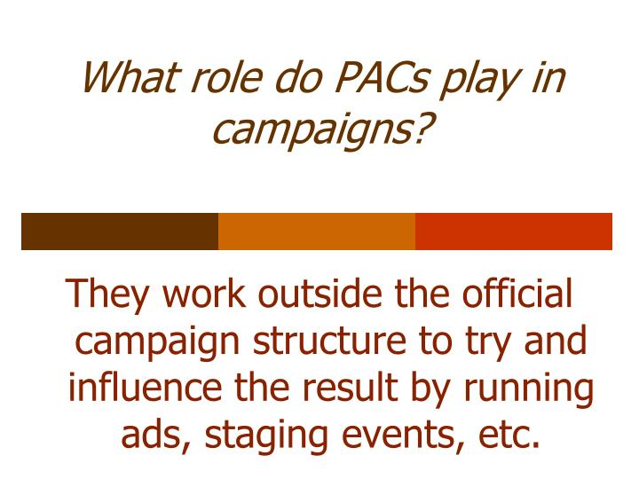 What role do PACs play in campaigns?