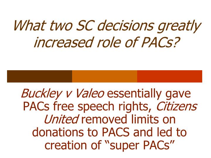 What two SC decisions greatly increased role of PACs?